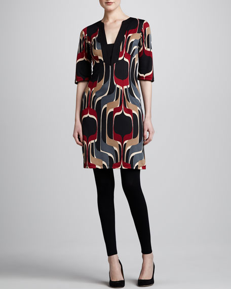 Printed Ponte Tunic Dress