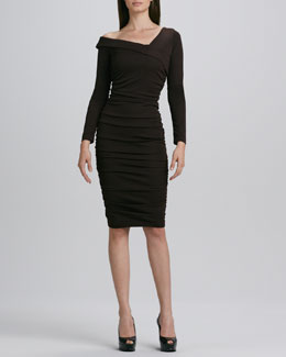 Melissa Masse Asymmetric-Neck Ruched Dress, Women's