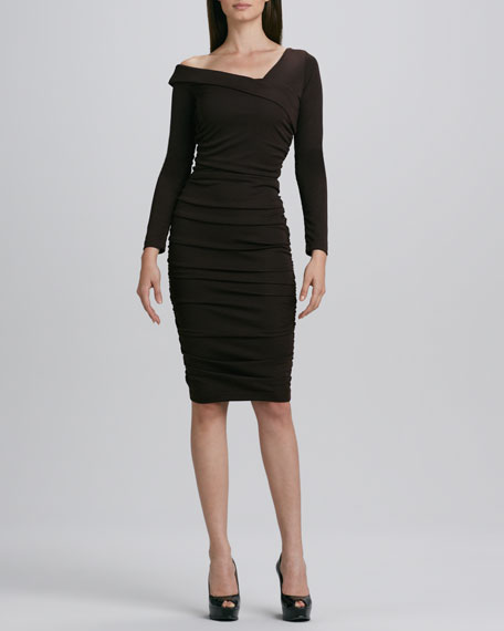 Asymmetric-Neck Ruched Dress, Women's