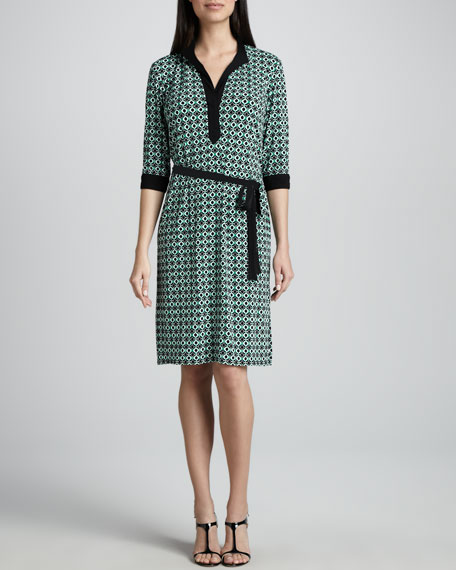 Tile-Print Jersey Dress