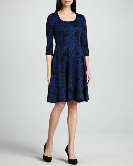 Jacquard Scoop-Neck Dress
