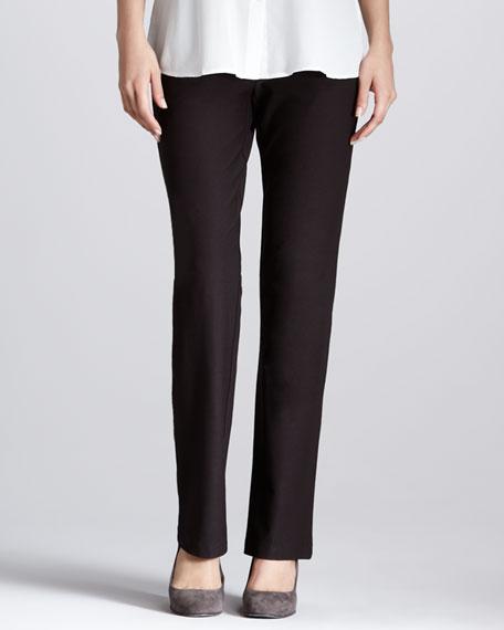 Stretch Crepe Slim Boot-Cut Pants