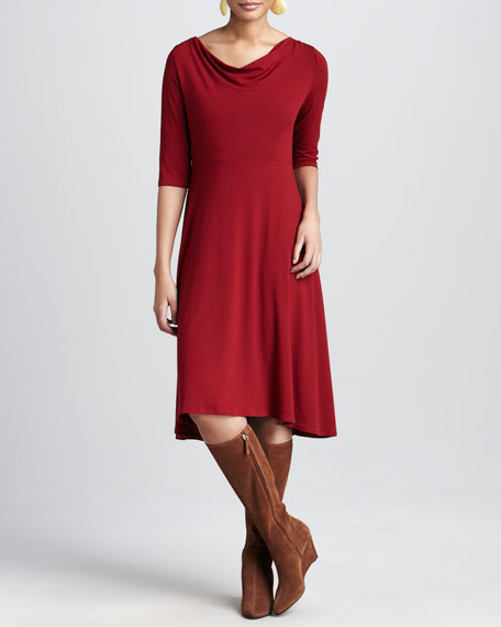 Drape-Neck Jersey Dress, Women's