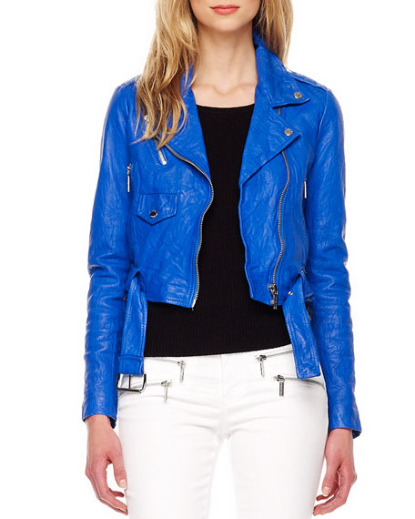 Cropped Crinkled Leather Jacket, Women's