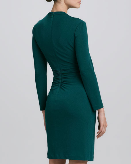 V-Neck Center-Ruched Long-Sleeve Dress