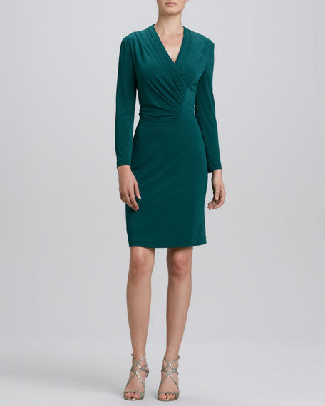 V-Neck Center-Ruched Long-Sleeve Dress