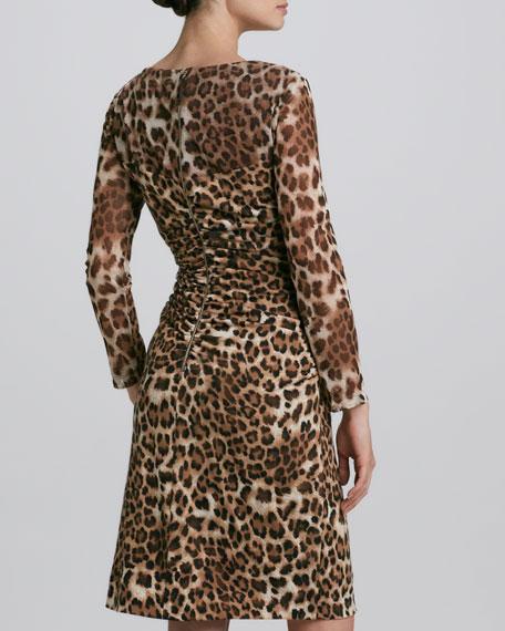 Animal-Mesh Long-Sleeve Dress
