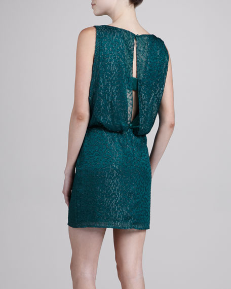 Geometric Shimmer Blouson Dress