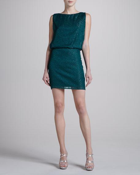 Geometric Shimmer Blouson Dress