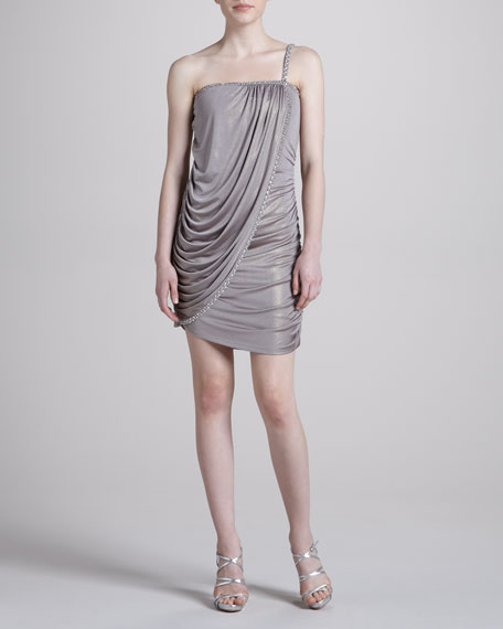 Skinny One-Strap Foil Wrap Dress