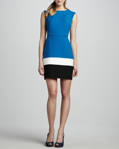 Colorblock Jewel-Neck Short Dress