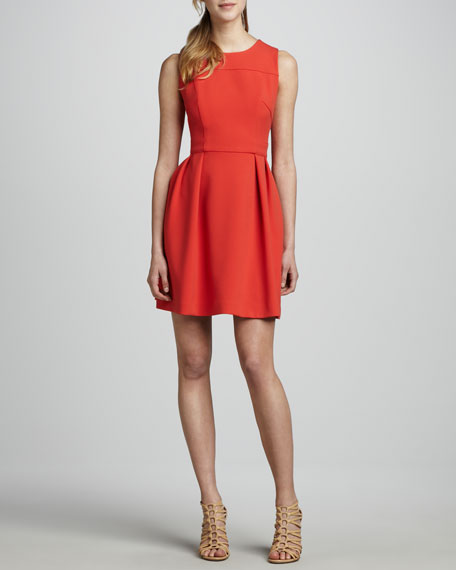Sleeveless Pleated Ponte Dress