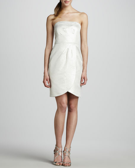 Strapless Faux-Wrap Jacquard Dress