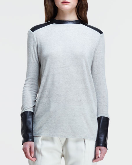 Long-Sleeve Leather-Cuff Shirt