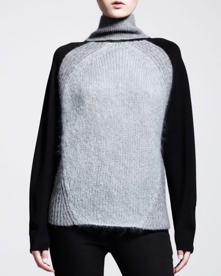 Knit-Sleeve Turtleneck Sweater