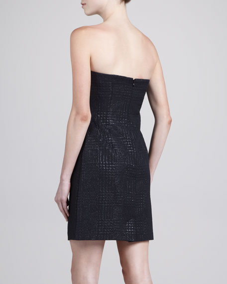 Houndstooth Jacquard Strapless Dress