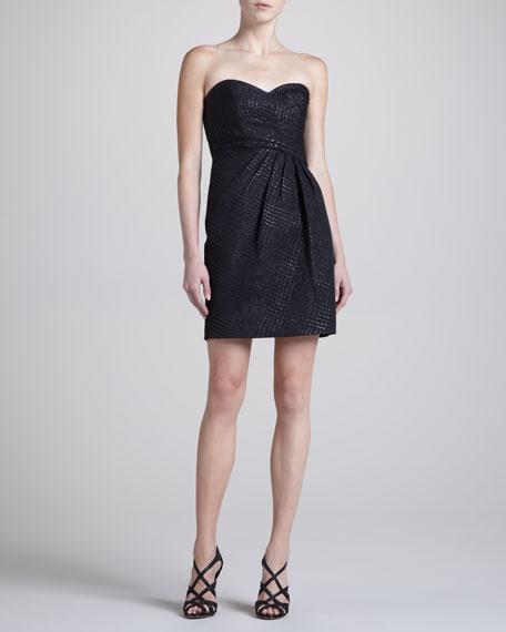 Houndstooth Jacquard Strapless Dress