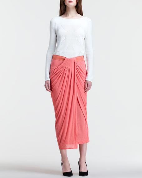 Drape-Front Midi Skirt