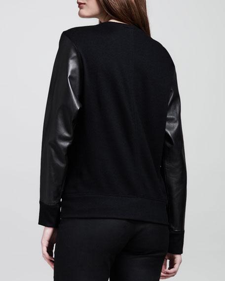 Wool-Back Leather Sweatshirt