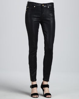 7 For All Mankind The Cropped Skinny Coated Jeans