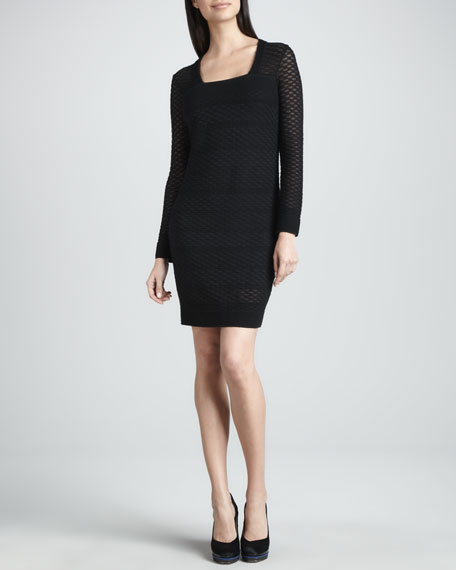 Honeycomb Long-Sleeve Dress