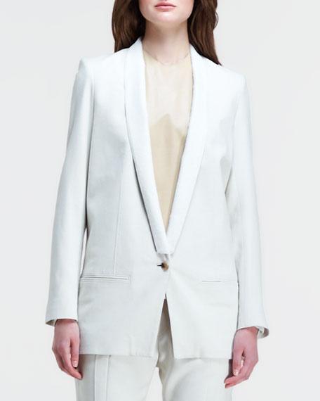 Long Leather-Lapel Suit Jacket