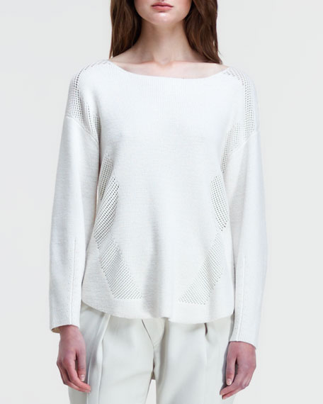 Knit Perforated-Inset Pullover