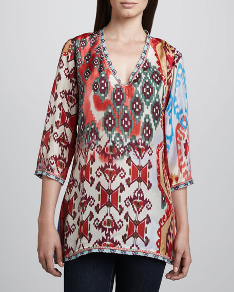 Ditsy V Neck Printed Top