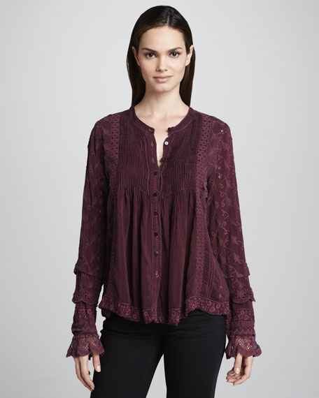 Sue Button-Front Blouse, Women's