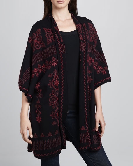 Claudine Embroidered Poncho, Classic