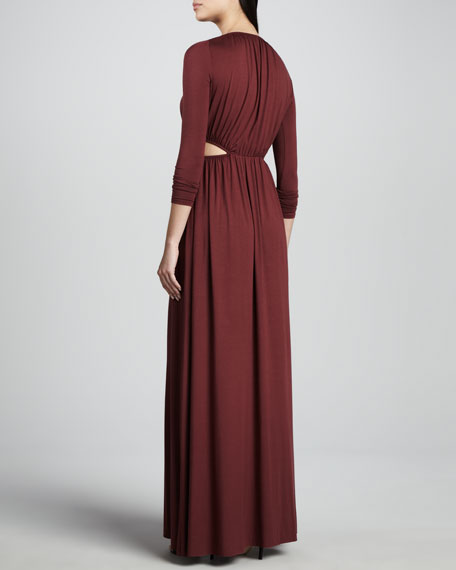 Jazz Long Cutout-Waist Jersey Dress