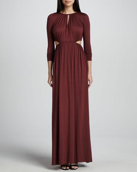 Jazz Long Cutout-Waist Jersey Dress