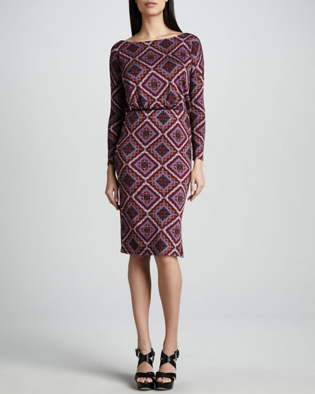 Brett Deco Squares Jersey Dress