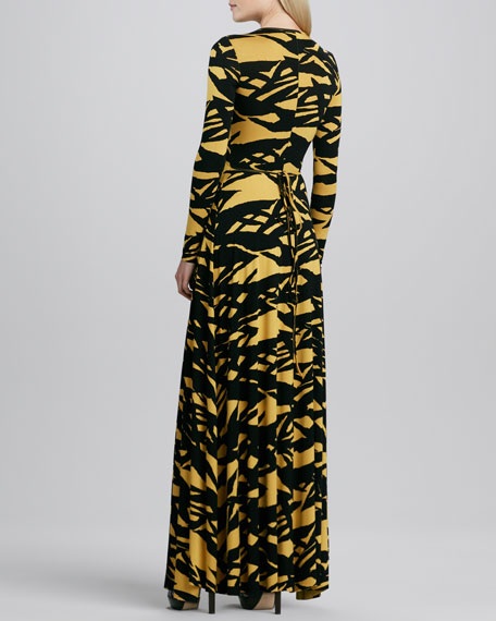 Print Wrapped Long Dress, Women's