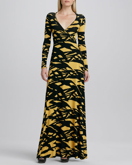 Tiger's Eye Print Wrapped Long Dress