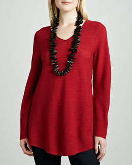 Eileen Fisher Wool Shirttail V-Neck Tunic