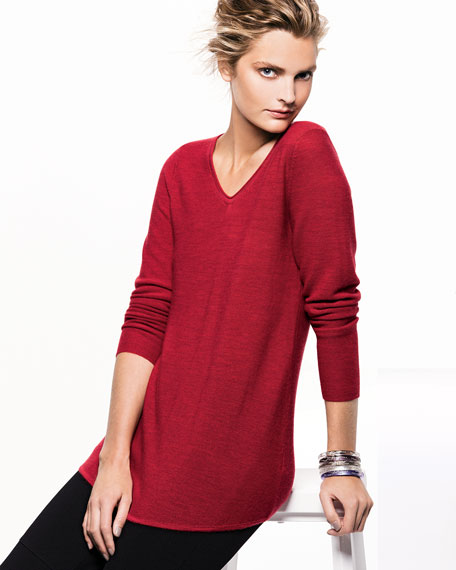 Wool Shirttail V-Neck Tunic, Petite