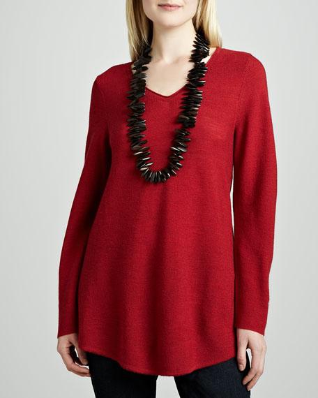 Wool Shirttail V-Neck Tunic, Women's
