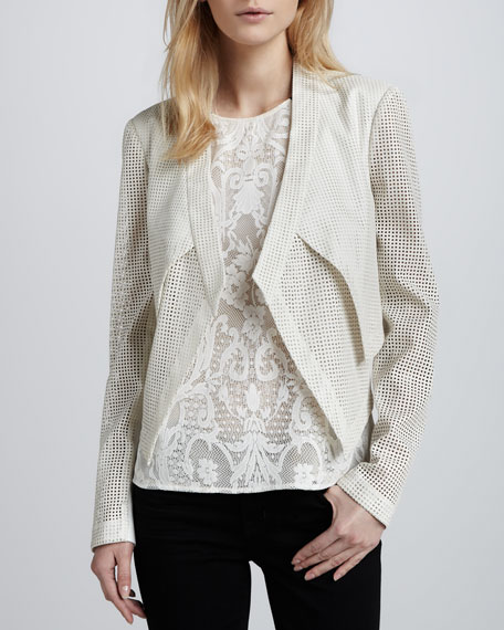 Perforated Cropped Open Jacket