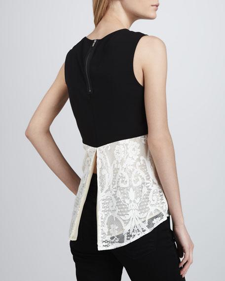 Contrast-Shoulder Lace Top
