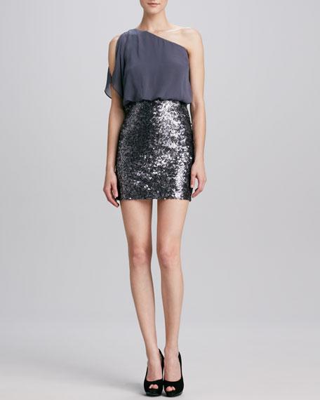 Sequined One-Shoulder Dress