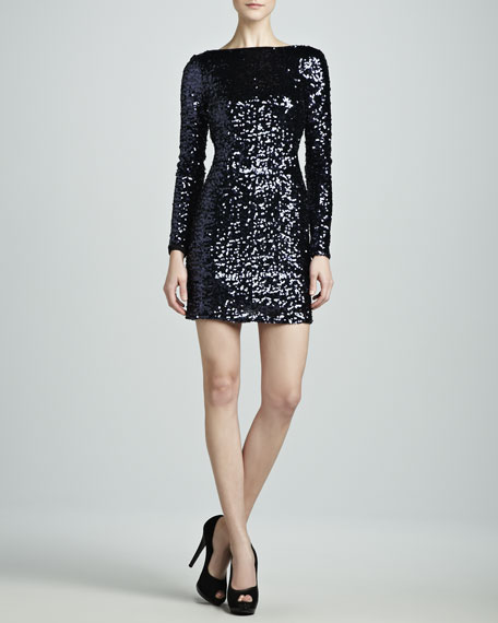 Long-Sleeve Sequined V-Back Dress