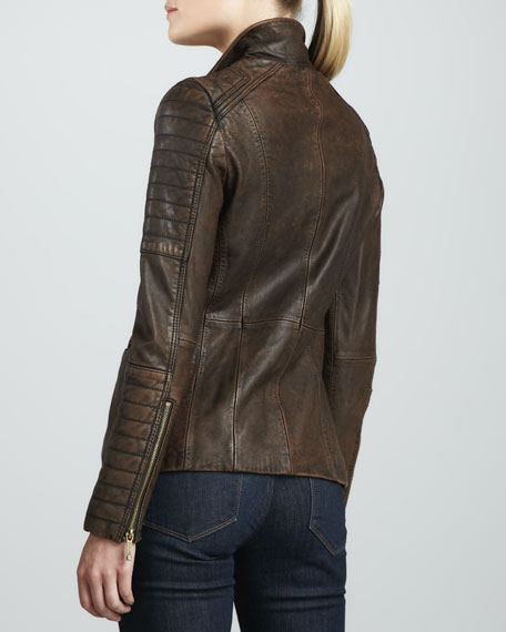 Ribbed-Panel Leather Blazer