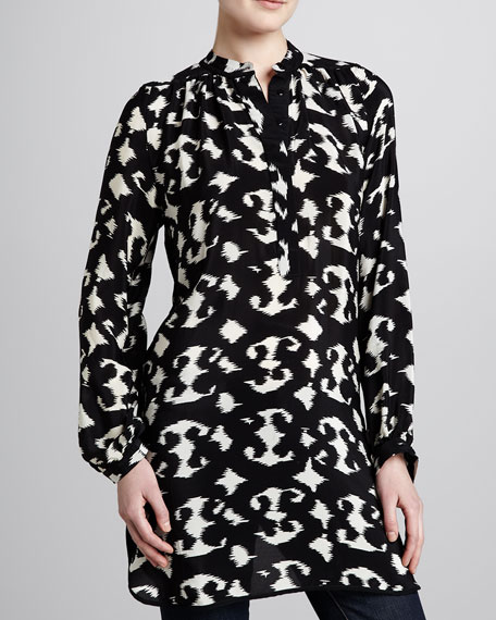 Natasha Black/White Print Tunic, Women's
