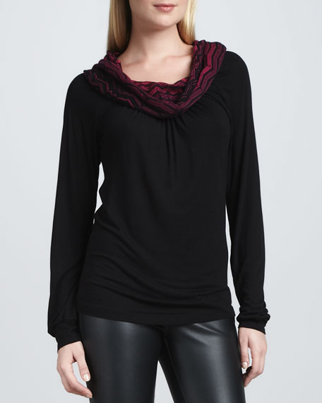Contrast-Cowl T-Shirt