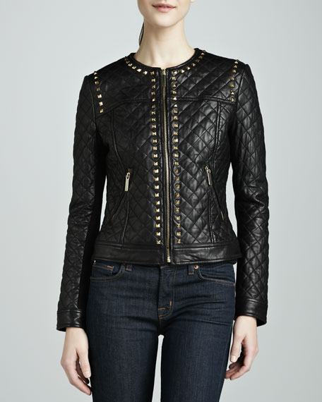 Golden Studded Quilted Leather Jacket