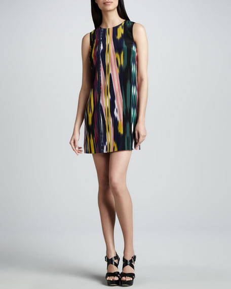 Ikat Striped Silk Shift Dress