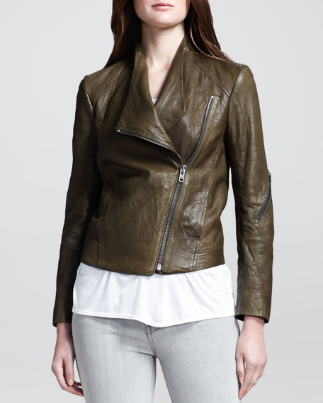Crinkled Leather Moto Jacket