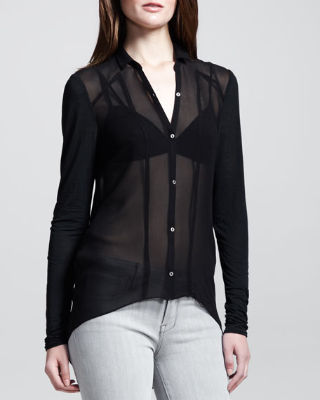 Sheer Jersey-Sleeve Button-Down Blouse
