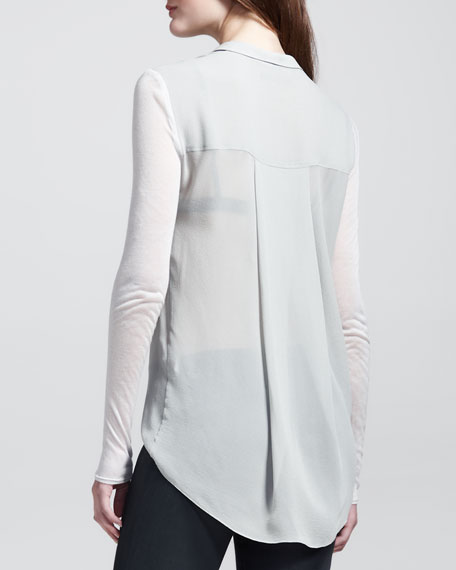 Sheer Jersey-Sleeve Button-Down
